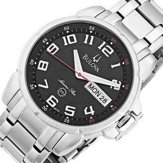 BULOVA Mens Marine Star Stainless Steel Bracelet Watch Black Dial