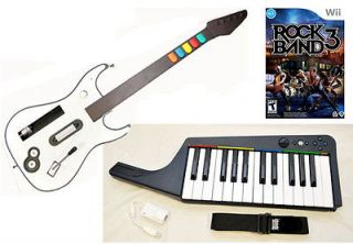 NEW Wii Rock Band 3 Keyboard & Wireless Guitar Game Bundle Kit Set u