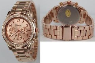 Rose Gold Plated Clear Crystal Case Rose Gold Dial Metal Band Watch