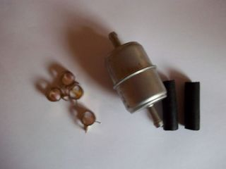 BOAT DIESEL / PETROL INLINE METAL FUEL FILTER KIT C/W CLIPS AND HOSE