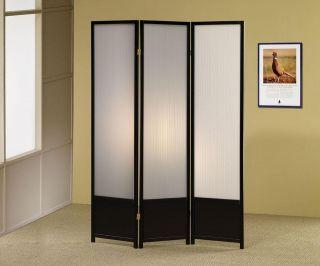 Black Finish 3 Panel Folding Screen Room Divider