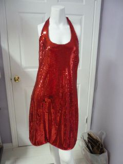 CARRIE ALLEN RED with RED SEQUINS HALTER DRESS NEW