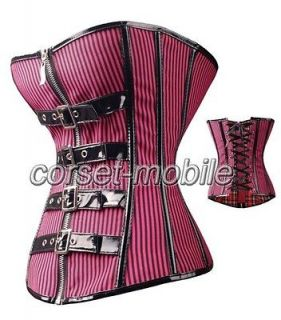 Gothic Pink Corset Sexy Stripes Buckles Bustier Punk M CM A2742_pink