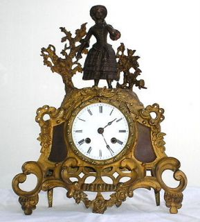 19th CENTURY FRENCH GILT BRONZE MANTEL CLOCK BY C.F. PETIT PARIS