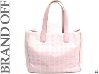 Authentic CHANEL TRAVEL LINE PINK CLOTH TOTE BAG HANDBAG [81
