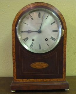 Antique mahogany inlaid French shelf mantle clock Black Starr & Frost