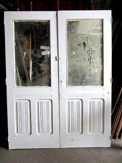 NICE PAIR OF ANTIQUE WALNUT CLOSET DOORS BEVELED MIRROR ARCHITECTURAL