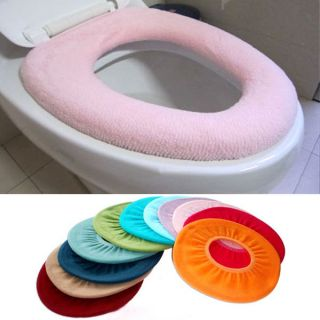 Colorful Comfort Bathroom Warmer Toilet Washable Cloth Seat Cover Pads