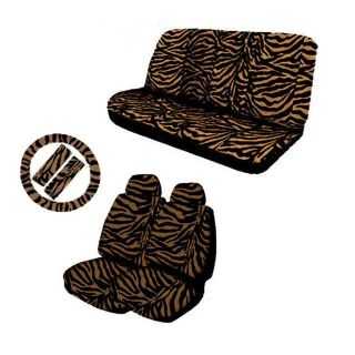 11pc Zebra Beige and Black Animal Print Complete Car Seat Cover Full