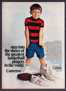 Boy in Dads Sneakers photo Converse Coach & All Star Shoes print ad