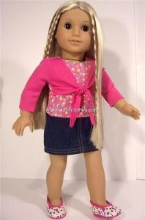 DOLL CLOTHES FITS AMERICAN GIRL*3PC DOTTY SKIRT+TOP+SHOE​S