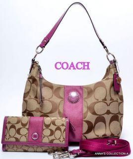 NWT  COACH SIGNATURE KHAKI/BERRY HOBO PURSE WITH MATCHING WALLET