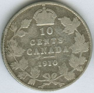 1910 CANADA SILVER CANADIAN DIME 10 CENT COIN Stock No B 39