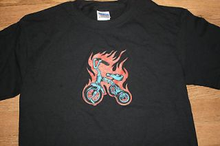 Tricycle Biker Flames Adult Pop Art T shirt Small Big Wheel motorcycle