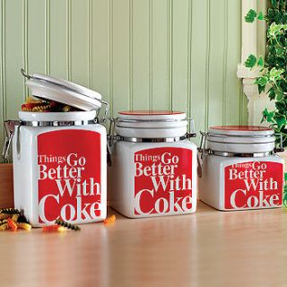 COCA COLA 3pc THINGS GO BETTER WITH COKE CANISTER SET