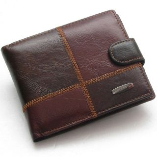 New Mens Genuine Leather Bifold Wallet Purse with Coin Pocket 262
