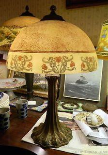 VINTAGE ART NOUVEAU REVERSE PAINTED TABLE LAMP FLOWERS w/DECORATIVE