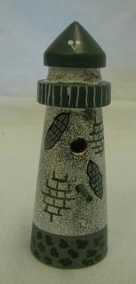 Gray Blue Beach Country Lighthouse Bird House Wood Shelf Decor