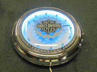 Harley Davidson Sprocket Gear Neon Clock HDL 16607 Real Chrome Metal