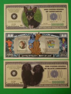 USA $1000000 One Million Dollar Bills SCOOBY DOO, Black LABRADOR