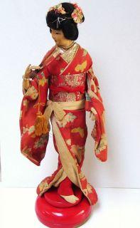 Antique Japanese Geisha Doll Cylinder Music Box Stand Brass Kimono
