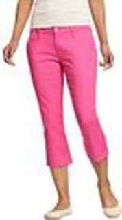 NWT Old Navy Pop Color Pink Coral Skinny Capri Cropped Jean Pants 16