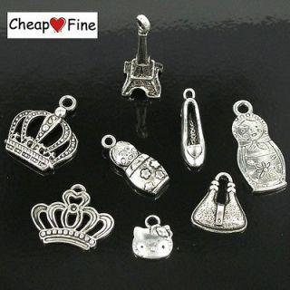 lot 60pcs Tibetan silver Mixed Crown baby high heels cat bag Eiffel