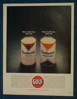 1963 Gulf Oil Ad ~ Two Large Gulfpride Oil Cans Shown
