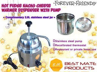 8L New Hot Fudge Nacho Cheese Dispenser Warmer With Pump+ Stainless
