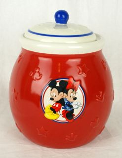 Disney Mickey Mouse Minnie Cookie Jar Canister Red White Blue Treats