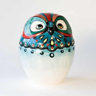 OWL BIRD Colorful Ceramic COOKIE JAR Adorable fun NEW