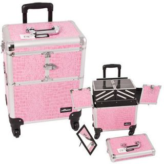 Pink Rolling Train Case Cosmetic Makeup Organizer 19 with Mirror E634