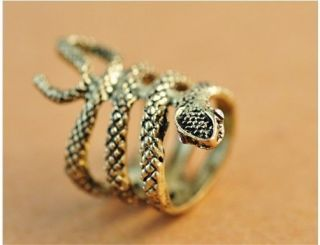 Retro Cool Rock Punk Gothic Silver/ Bronze Snake Ring Rings Men Women