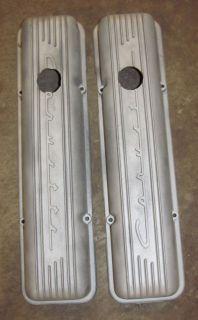 327 Corvette Script Aluminum Valve Covers Rat Rod Custom Gasser Pair