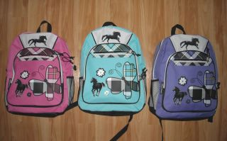 Girls HORSE Backpack~Black HORSES~Butterf​ly too~NWT~U Chose Color