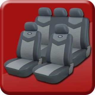 Synthetic Leather Semi   Custom Car Seat Covers Solid Bench Slate Gray