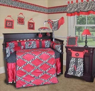 Baby Boutique   Hot Pink Zebra 14 pcs Crib Nursery bedding Include