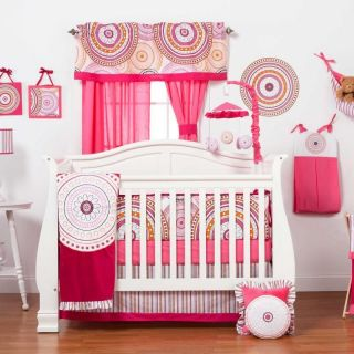 Shaped Circles Infant Baby Girl Pink Nursery Crib Bedding Set