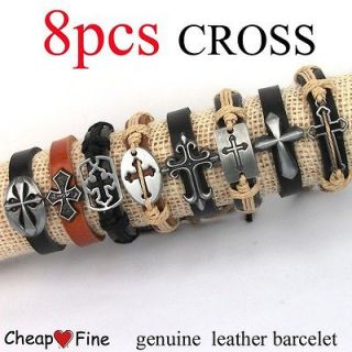 lots 8pcs Mixed Style CROSS Christ ox Leather Bracelet For gift