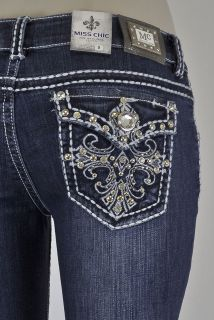 Bootcut Jeans White Stitching with Cross Design And Jewels SZ 1 15