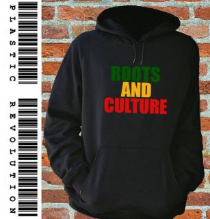 ROOTS AND CULTURE   BLACK HOODIE (Bob Marley Reggae Ganja Dub Bass