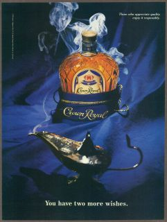 Crown Royal Whiskey 1993 magazine print ad, genie in the lamp, whisky