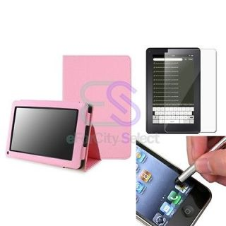 Pink Leather Pouch Case w/ Stand+SPT+Stylus For  New Kindle Fire