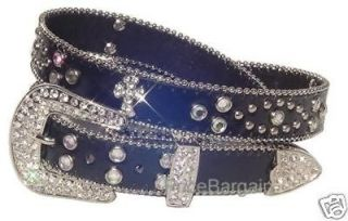 Western Rhinestone Black Cross Concho Leather Belt SM M