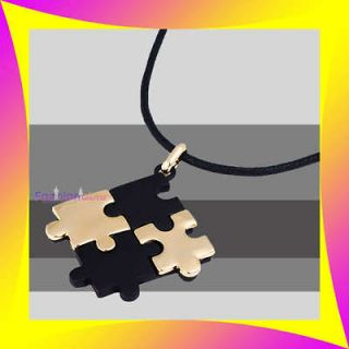 Jewelry SYMBOLIZE AUTISM Black Gold PUZZLE Pendant Locket Necklace