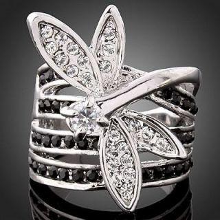 Agate Swarovski black Crystal white gold GP Fashion finger Ring