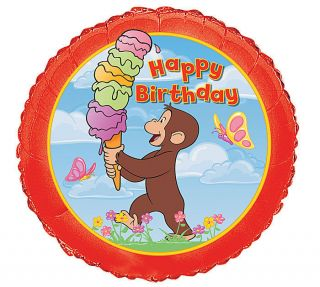CURIOUS GEORGE ICE CREAM 18 balloon BIRTHDAY PARTY FUN