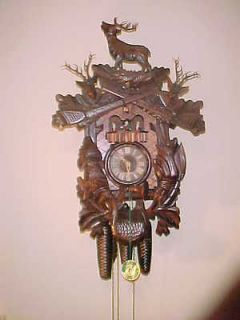 HUGE GERMAN CUCKOO CLOCK,BLACK FOREST, HUNTERS CABIN DEER ELK RABBIT