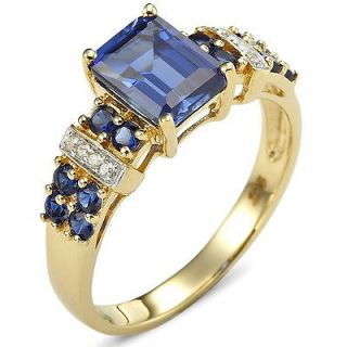 10 Jewelry Handsome Blue Sapphire 10KT Yellow Gold Filled Ring Gift