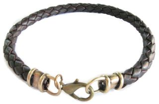 Custom Sized Antiqued Brass 4mm Dark Brown Braided Leather Bracelet